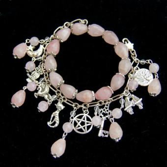 Комплект браслетов из Розового Кварца